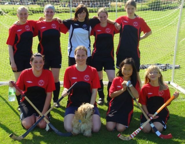 Abedour women's team pose for a photo in the goal
