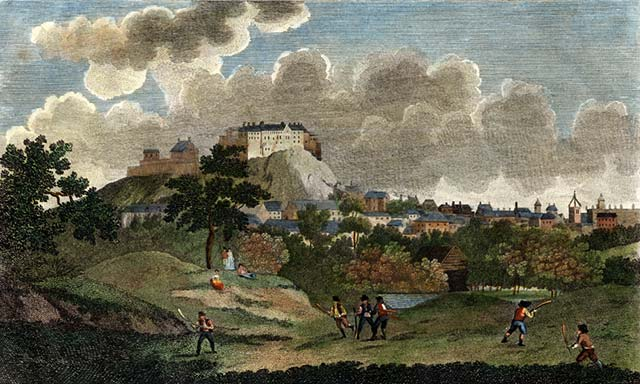 An engraving of shinty being played by the Borough Loch, Edinburgh c. 200 years ago